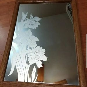 Vintage floral etched wall mirror